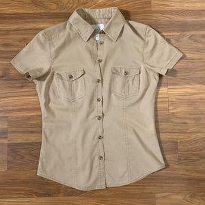 H&M Tan Surfari Button Up Short Sleeve Shirt